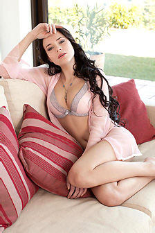 Curly Haired Valeria Strips Down