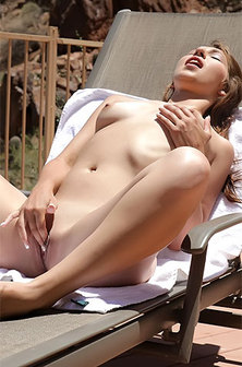 Tattoed Teen Babe Naked Sunbathing