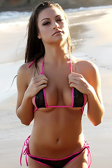 Lauren In Black Triangle Bikini