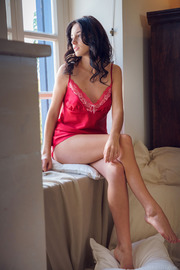 beautiful brunette Sultana looks super sexy in her red, lacy nightwear