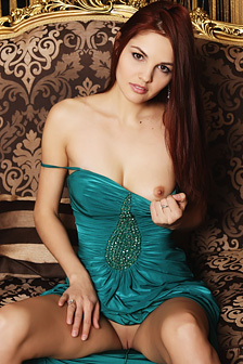 Gorgeous Redhead Alise Moreno In Elegant Dress